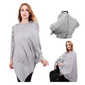 Plain Color Nursing Cover Scarf Poncho Breastfeeding Multi Use Organic Cotton Baby Car Seat Cover Canopy And Nursing Cover
