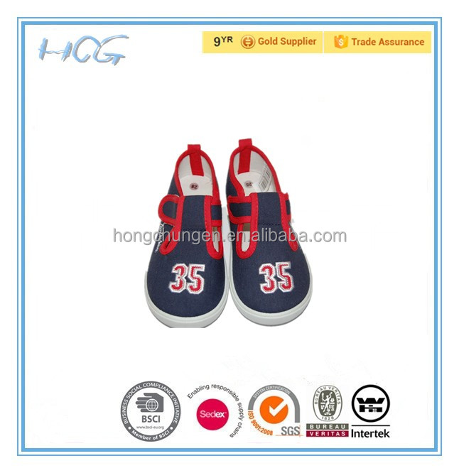 kids canvas fabric slip-on injection shoes with applique