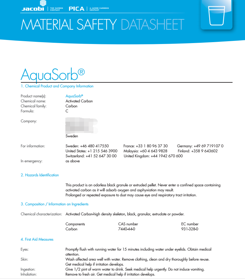 Msds Standard Water Treatment Columnar Coal Based Activated Carbon ...