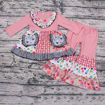 Boutique Valentine spring fall beautiful ruffles toddler clothing outfits
