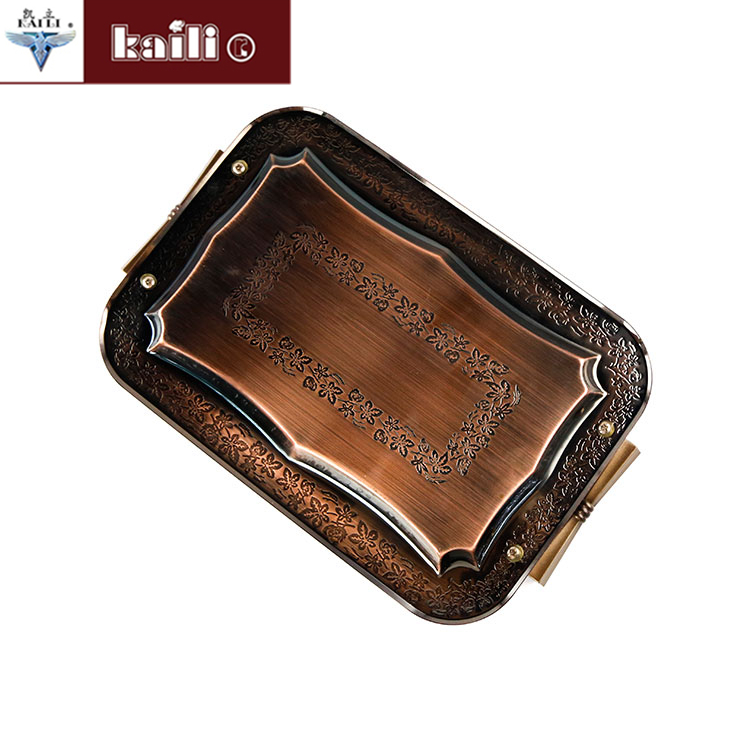 bronze color home hotel ss410 serving tray set with plastic handle