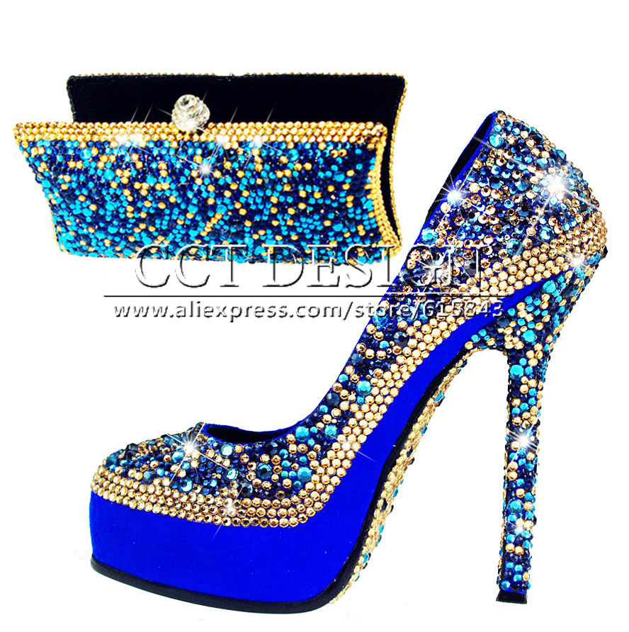Something Champagne Wedding Shoes Customized Sparkly Royalblue High Heels Platfrom Party Evening Shoes Italian Shoes And Bag Set