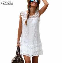 Zanzea moda para el Verano 2016 Mujeres Sexy Casual Sin Mangas de la Playa Vestido Corto Borla Sólido Blanco Mini Vestido de Encaje Vestidos Más El Tamaño