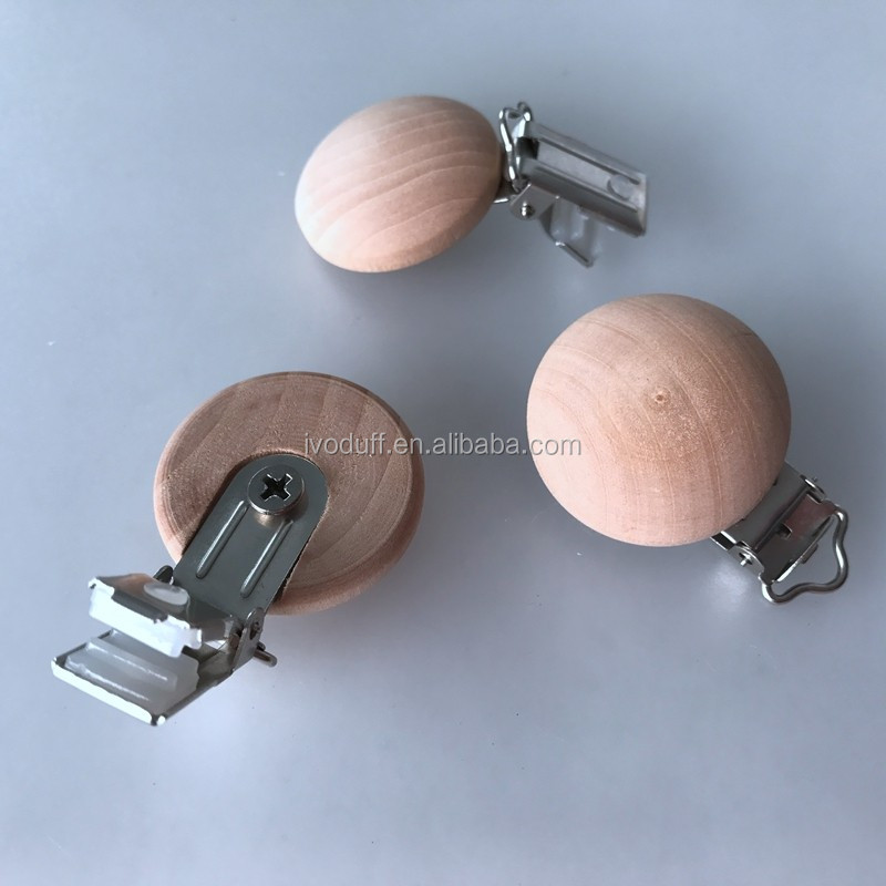 pacifier clip High Quality Wooden Round Baby Pacifier Clips, wood Dummy soother clip