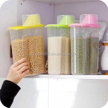 Kitchen Helper Plastic Food Storage Container With Measuring Lid