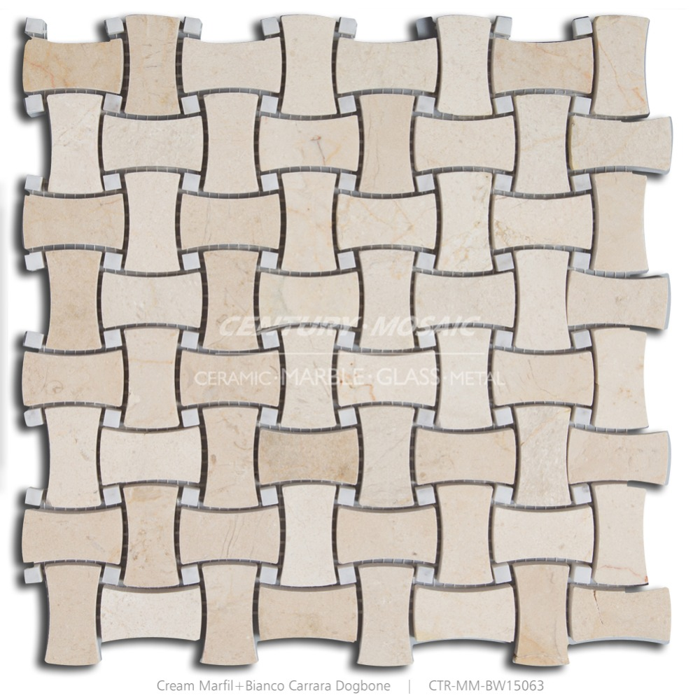 Beige and White Marble Basketweave 1x2 Polished Backsplash Mosaic Tile