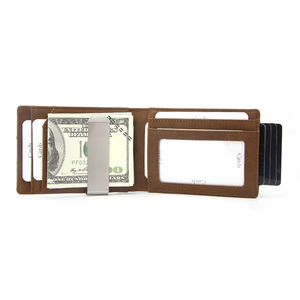 Wholesale Crazy horse pu leather dark brown mens money clips wallet