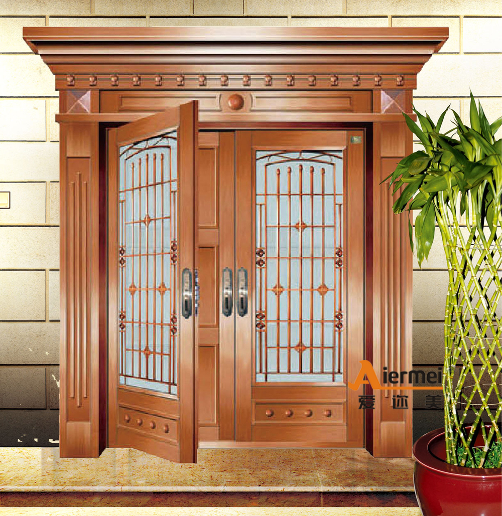 2015 fashioal double door design cooper exterior glass for Exterior double doors with glass