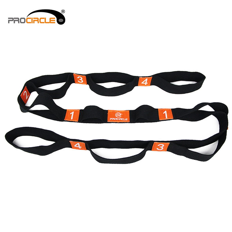 High Quality Elastic Stretching Cotton Yoga Strap with loops