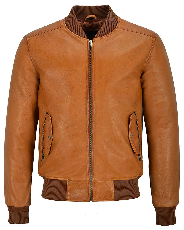 Smart Range 70'S RETRO BOMBER Men's Tan Classic Soft Italian Napa Leather Jacket 1229