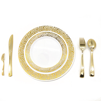 Best Selling Disposable Tableware Rose Gold Plastic Cutlery Plate Disposable Plastic Rose Gold Dinnerware Set