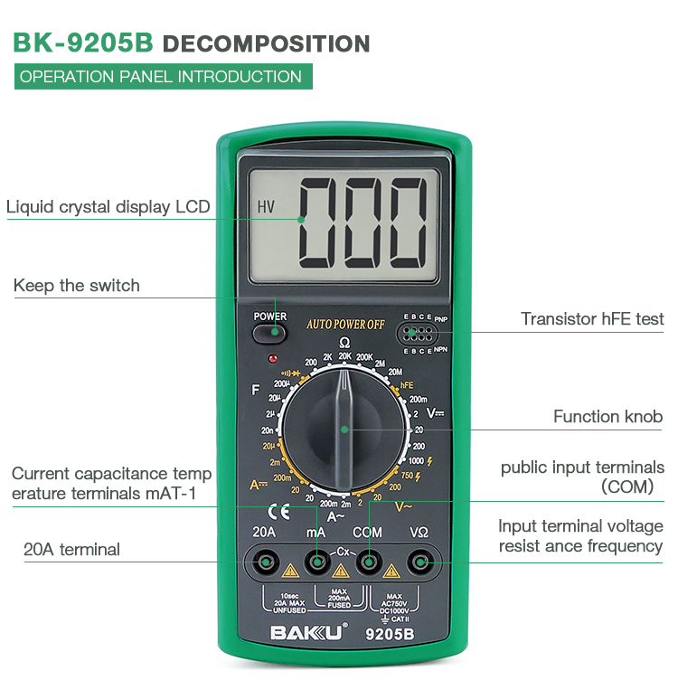 BAKU BK-9205B new digital multimeter tester appliances widely used tools