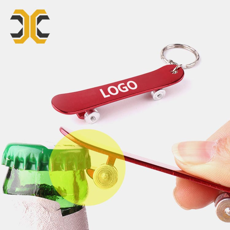 Skateboard shape custom bottle opener keychain