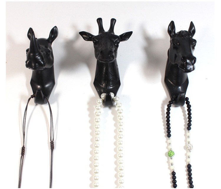 Wholesale 2016 hot new design animal head wall decor home wall decor black animal wall hook