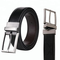 Custom Men's Black Brown Double Side Reversible Rotated Buckle Genuine Leather Men Dress Belt