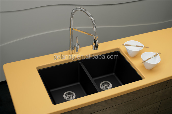 Custom Made Italian Stainless Steel Natural Granite Stone Kitchen Sink With Drainer