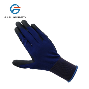 hot sale textured blue color rubberex full nitrile coated gloves