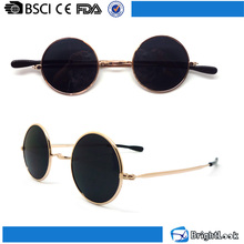 Hot sale retro vintage old style fashion metal small lens man round custom sunglasses cool unisex