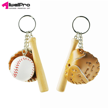 Sport promotion gifts simulation wooden baseball bat keychain with leather baseball