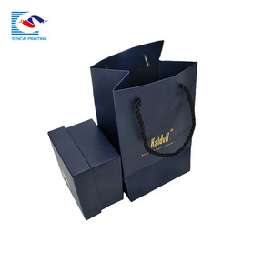 Custom soild black color flat handle paper bag foldable jewelry packing shopping bag