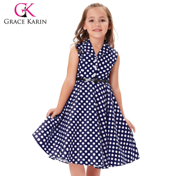 1f9697b4eb1 Grace Karin Kids 'Holly' Vintage 50's Dress Girls Retro Vintage Sleeveless  Lapel Collar Navy Polka Dots Dress CL009000-2, View rockabilly polka dot ...