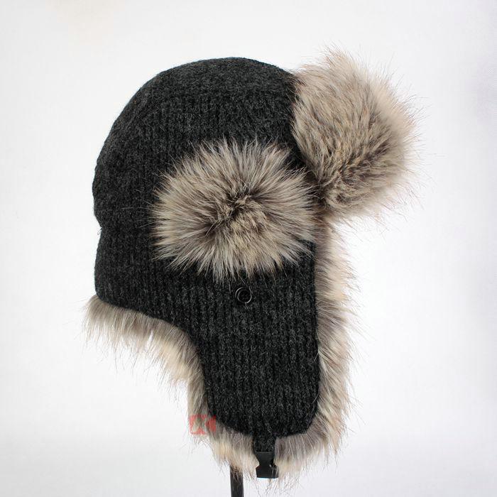 Stock Wholesaler Plain Crochet Russian Ushanka Trapper Hat With Faux ...