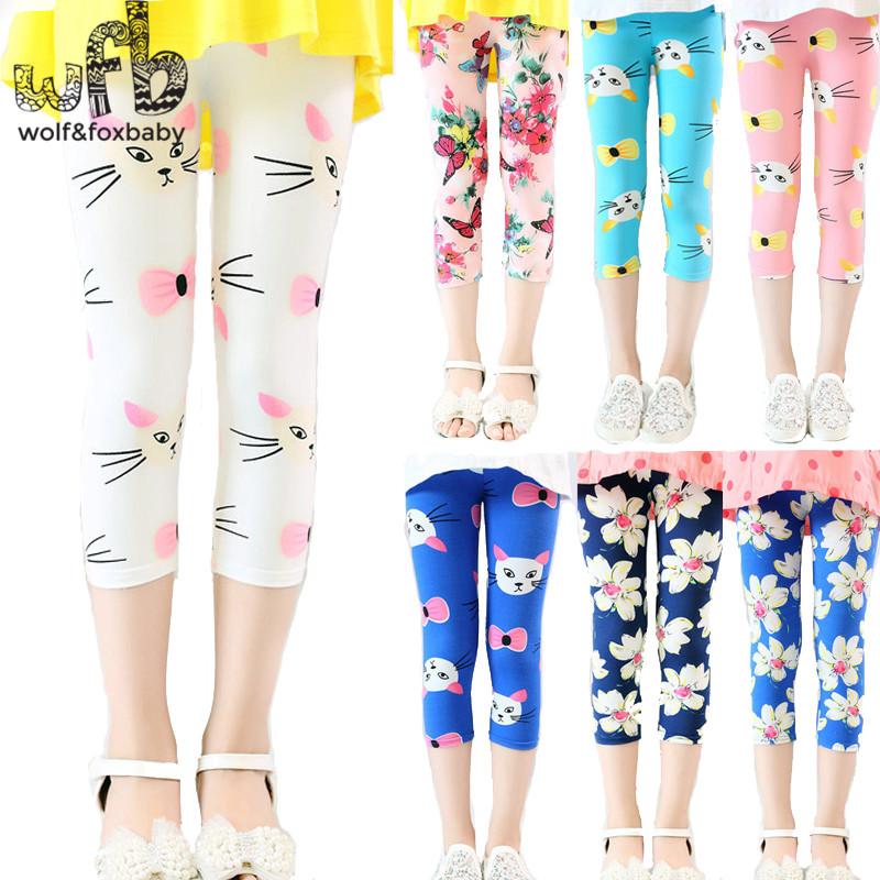 c452b9f43c8ba Retail 3-10years 10 color print footless girls knee length capri pants  Cropped clothing kids leggings children summer cool
