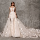 Romantic Lace Appliqued Mermaid Wedding Dresses with Removable Train 2019 New Illusion Wedding Dress Bridal Gown Robe de Mariage