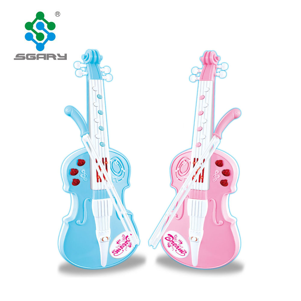 Pink Music Violin toy Plastic Electric LED Light Flashing with Music Sound Violin Educational Toy