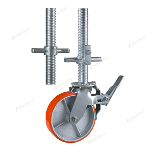 Factory price cast iron wheel PU mold height adjustable truckle scaffolding caster with locking