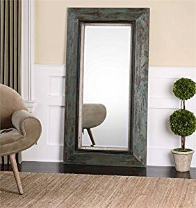 Ambient Heavily Distressed Teal Blue And Olive Accented With Aged Black Inner Edge And Rust Brown Undertones Distressed Leaner Mirrors