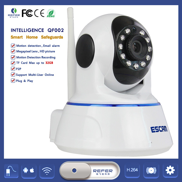 ESCAM QF002 Wireless Baby Monitor 720P P2P Mega Pixel Pan/Tilt security camera with cctv camera india