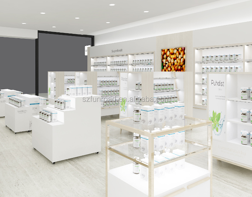 2018 Retail pharmacy shop interior design pharmacy display showcase