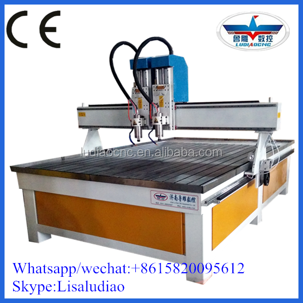 Double Heads double spindles wood cnc router machine engraving machine 1325 for relief and coffin carving