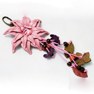 Chinese ancient customs tassel leather flower keychain