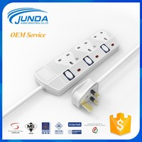 Hot sale extension multiple 3 way electrical extension individual switch power socket 3mual switch power socket 3m