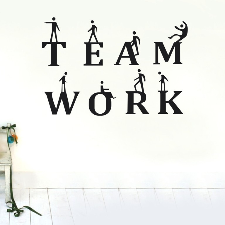 Team Work Wall Stickers Inspirational Quotes and Sayings Wall Decals for Office KIds Bedroom DIY Vinyl Removable Art Home Decor