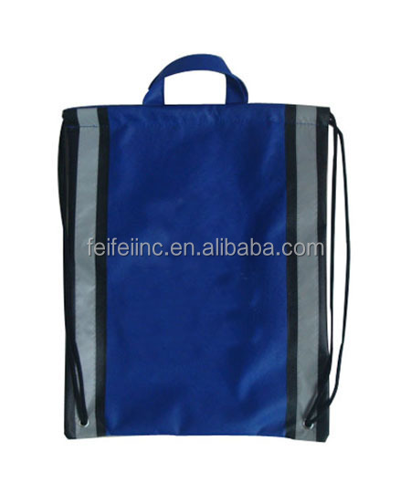 Promotional drawstring backpack with reflective stripe