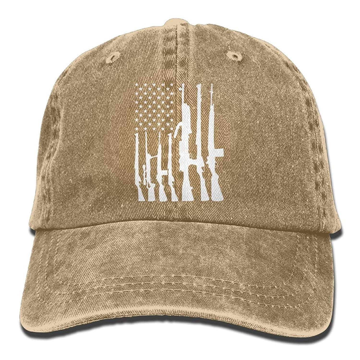 Enpengd Never Disarm Guns USA Flag Funny Men & Women Adjustable Cowboy Cotton Baseball Hat Natural