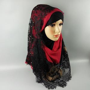 ZP sexy style hijab stock black lace muslim head scarf wholesale
