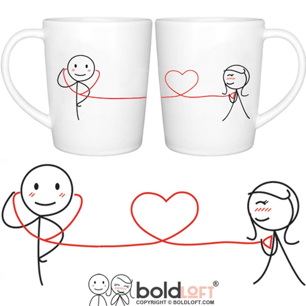 """BOLDLOFT""""My Heart Beats for You"""" Couple Coffee Mugs-Romantic Valentines Gifts for Couples,Cute Valentines Day Gift Ideas,Christmas Gifts for Him for Her,Romantic Anniversary Gifts"""