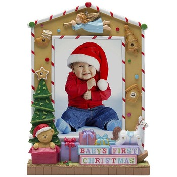 Resin Christmas Light Up Baby  Picture Photo Frame