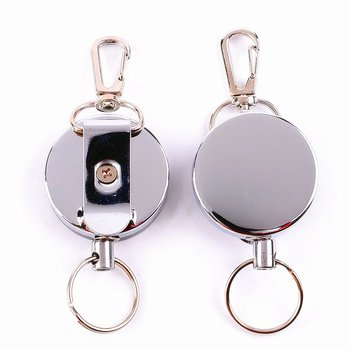Hot Sell In Amazon   Retractable Badge Reel Heavy Duty Key Reels Carabiner Key Ring Badge Holder Reel Clip for ID Card