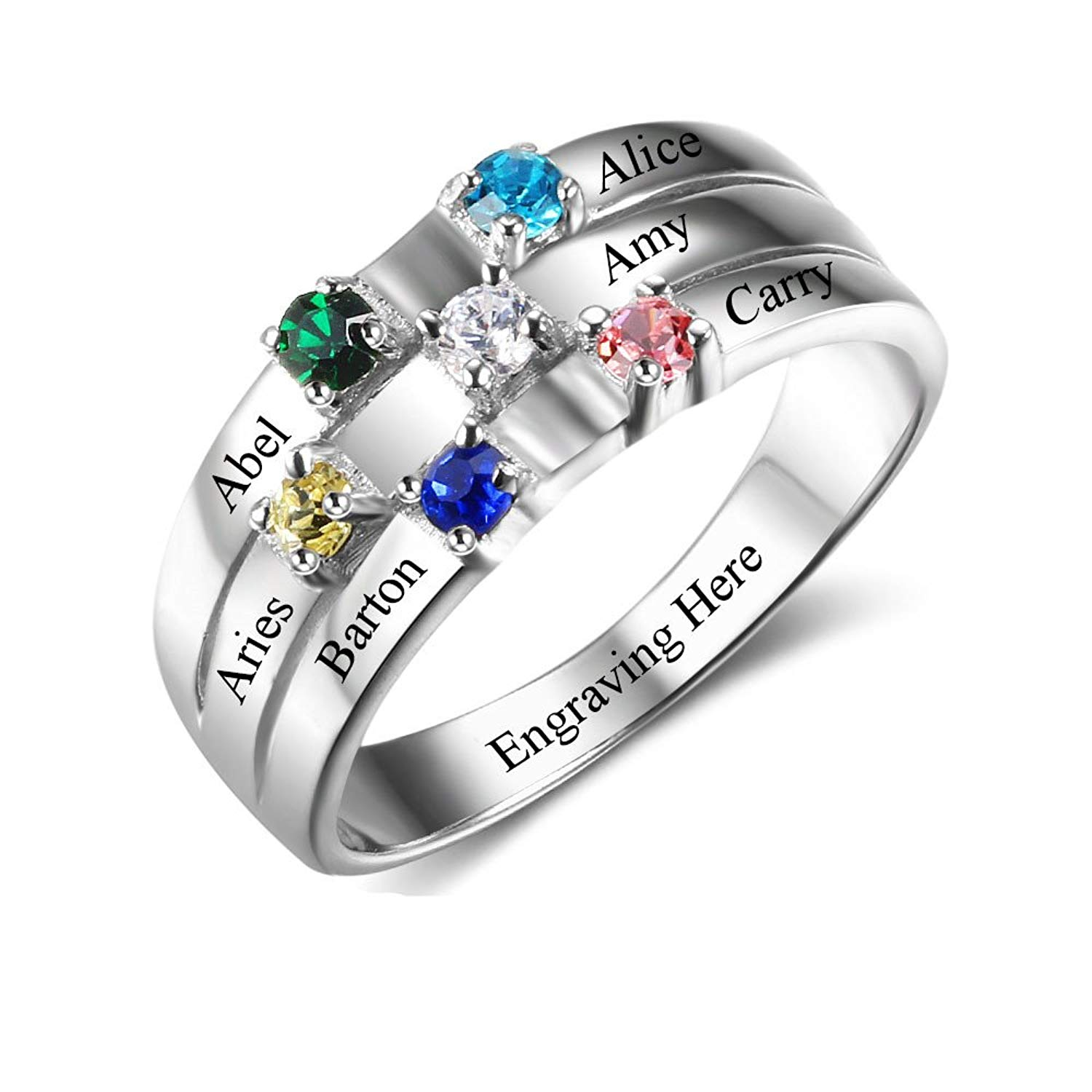 bb5419905 Get Quotations · Lam Hub Fong Personalized Mothers Rings 6 Simulated Birthstones  Rings for Mother Name Rings Mother Grandmother