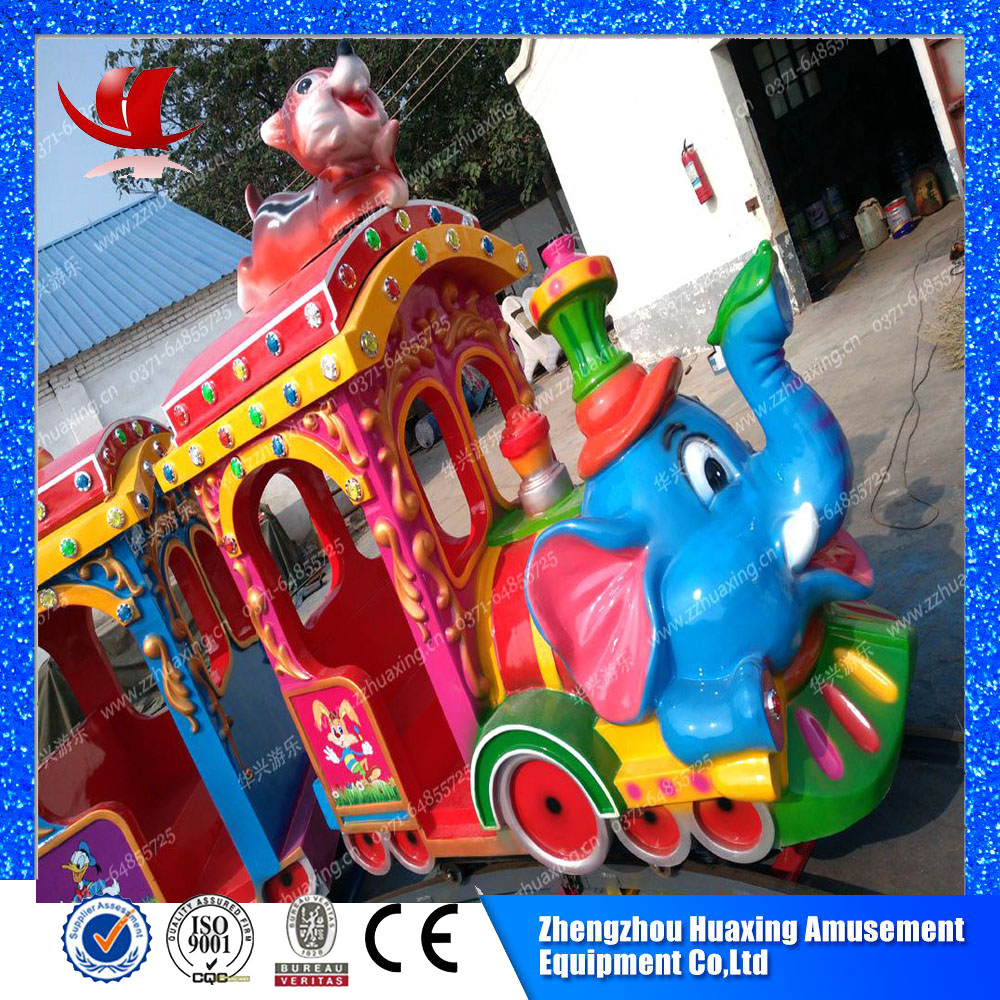 Thrilling games outdoor playground electric track toys elephant train