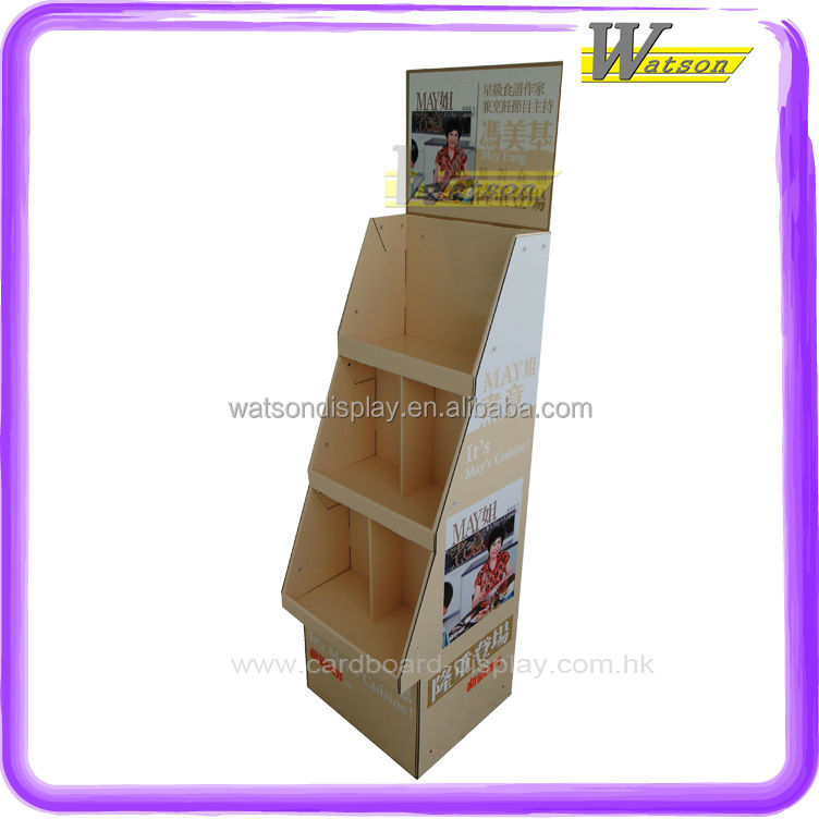cooking book with CD promotion customized cardboard 3 layer stand display rack