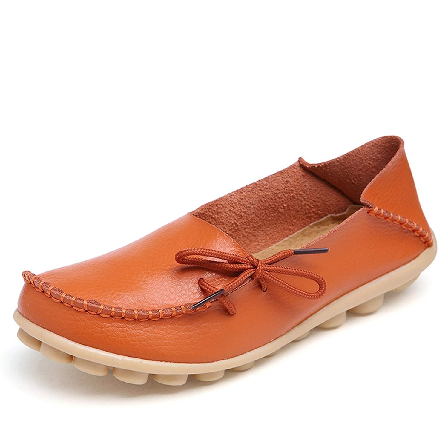 25079931d2f Get Quotations · Lucksender Womens Cowhide Leather Lace-Up Driving Shoes  Loafers Boat Shoes