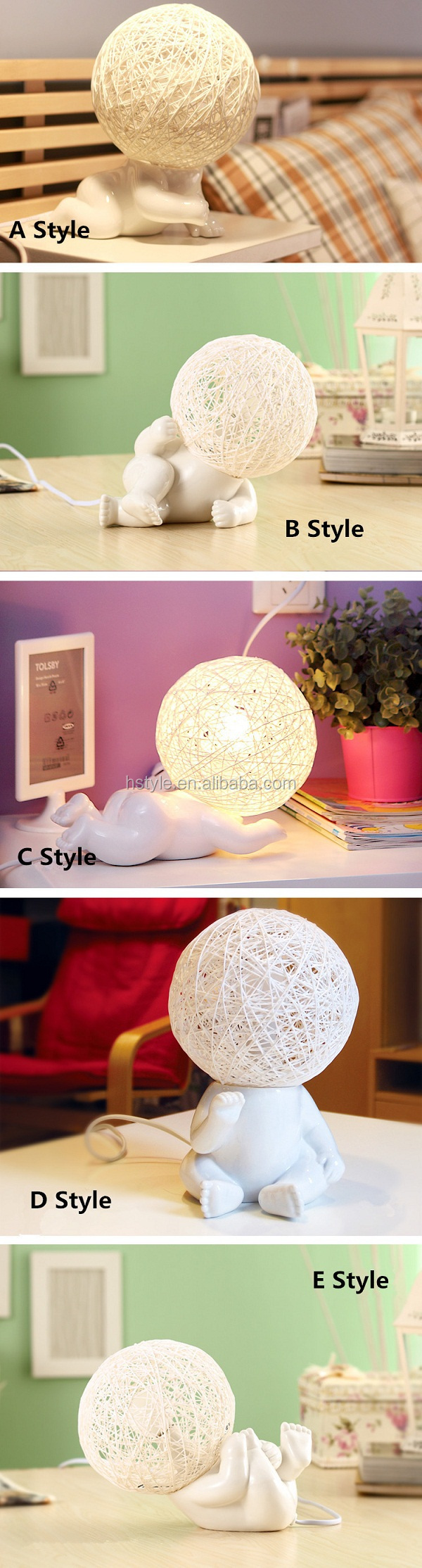 Unique Big Head Chinese Ceramic Table Lamps Kids Night Light For ...