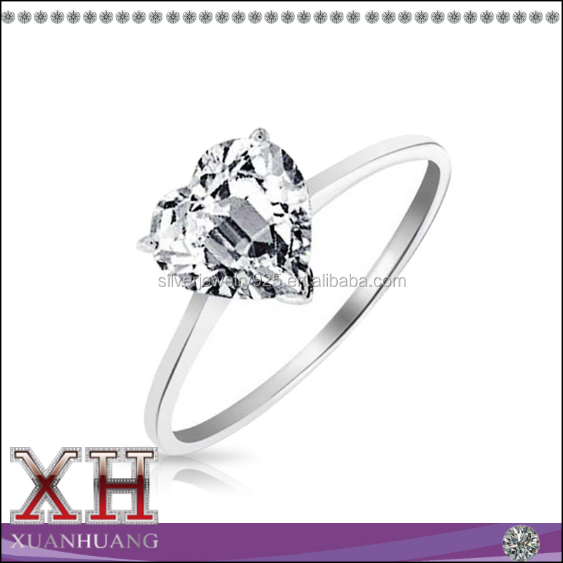 Sterling Silver Heart Shape CZ Solitaire Engagement Ring Wholesale