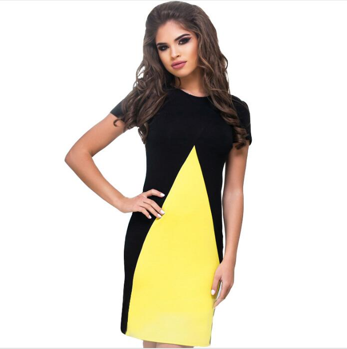 sh20236a Summer fashion contrast color ladies short-sleeved dress